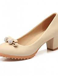 baratos -Mulheres Sapatos Courino / Couro Ecológico Primavera / Verão Conforto / Inovador Saltos Caminhada Salto Robusto Ponta Redonda Laço Bege /