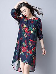 Dámské Vintage Čínské vzory Běžné/Denní Společenské Volné Šaty Květinový,Dlouhý rukáv Kulatý Asymetrické Modrá Červená Bavlna Jaro Léto