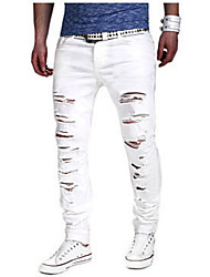 cheap -Casual Cotton Slim Slim Chinos Jeans Pants - Solid Colored, Ripped