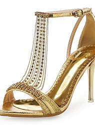 preiswerte -Damen Schuhe Künstliche Mikrofaser Polyurethan / Glanz Sommer / Herbst Komfort / Neuheit Sandalen Stöckelabsatz Strass Weiß / Rot / Blau