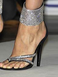 Sandali-Formale Casual Serata e festa-Club Shoes-A stiletto-Felpato-Nero