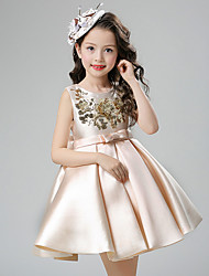 cheap -Ball Gown Short / Mini Flower Girl Dress - Cotton Satin Sleeveless Jewel Neck with Sequin by YDN