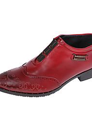 levne -Pánské Obuv Koženka Jaro Léto Bullock boty Pohodlné Oxfordské pro Svatební Kancelář a kariéra Party Černá Hnědá Červená