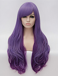 cheap -cosplay wigs purple gradient color wig wigs in europe and america fashion partial points 26 inch long curly hair Halloween