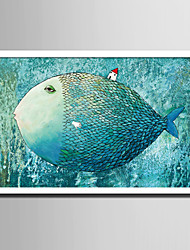 cheap -E-HOME® Framed Canvas Art Big Fish Fantasy Portrait Framed Canvas Print One Pcs