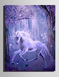 cheap -E-HOME Stretched LED Canvas Print Art Magic White Horse LED Flashing Optical Fiber Print One Pcs