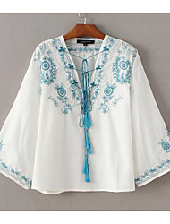 Women's Embroidery Going out Casual/Daily Sexy Simple Street chic Spring Fall Shirt,Solid Floral Print V Neck Long Sleeve Cotton Medium