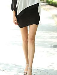 Übergrössen Röcke,Bodycon einfarbigUrlaub Sexy Mittlere Hüfthöhe Mini Elastizität Polyester Dehnbar Sommer Herbst