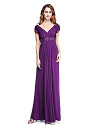 cheap -Sheath / Column V-neck Floor Length Jersey Mother of the Bride Dress with Beading Appliques Criss Cross Pleats by LAN TING BRIDE®