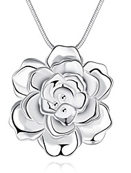 Women's Pendant Necklaces Chain Necklaces Jewelry Flower Copper Silver PlatedUnique Design Dangling Style Love Heart Geometric Friendship