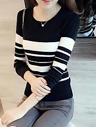Spot 2017 nuovo Slim breve paragrafo donne maglione sottile a strisce in bianco e nero a maniche lunghe maglione autunnale
