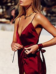 Недорогие -Для женщин Ультра-секси Форма / чонсам Ночное белье,Сексуальные платья Однотонный-Средний Нейлон Красный