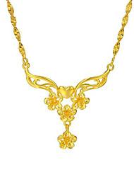 Collier plaqué or 24 carats kazahana ethnique tête prune style élégant