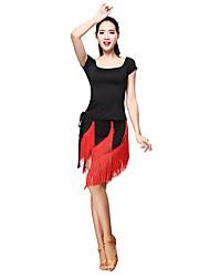 cheap -Latin Dance Outfits Women's Training Milk Fiber Tassel(s) 2 Pieces Short Sleeve Natural Top Skirt