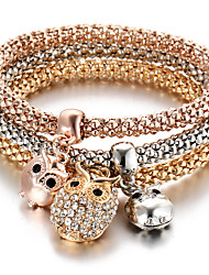 cheap -Women's Rhinestone Owl Charm Bracelet - Personalized Multi Layer Turkish Animal Bracelet For Party Anniversary Birthday