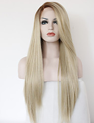 cheap -Synthetic Lace Front Wig Straight Blonde Synthetic Hair Heat Resistant Blonde Wig Medium Length / Long Lace Front