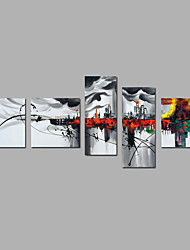 Hand-Painted Abstract Impression City Modern Five Panels Canvas Oil Painting For Home Decoration