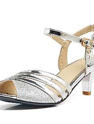 abordables -Mujer Zapatos PU Primavera / Verano Sandalias Tacón Stiletto Punta abierta Hebilla Dorado / Negro / Plateado / Boda / Vestido