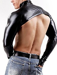 cheap -Men Leather DJ Top Fancy Stripper Costume Shawl Sleevelet Sexy Lingerie Catsuit