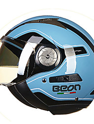 cheap -BEON Half Face Street Motorcycle Helmet ABS Breathable Goggles Helmet Blue Color