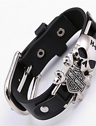cheap -Leather Skull Leather Bracelet - Bohemian Movie Jewelry Handmade Black Bracelet For Christmas Gifts Party Special Occasion