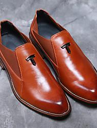 economico -Da uomo-Oxford-Matrimonio Ufficio e lavoro Serata e festa-Comoda scarpe Bullock-Quadrato Heel di blocco-Finta pelle-Nero Marrone