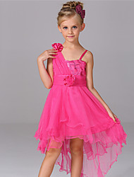 Girl's Jacquard Dress,Cotton Polyester Summer Sleeveless Floral Bow White Red Blushing Pink Fuchsia