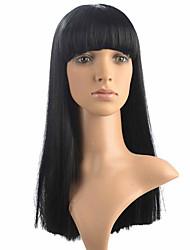 billige -Syntetiske parykker Lige Yaki Med bangs / pandehår Massefylde Lågløs Dame Sort Naturlig paryk Syntetisk hår