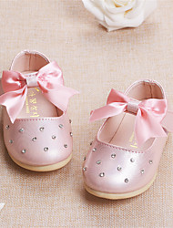 Baby Flats Comfort Leatherette Spring Fall Casual Outdoor Walking Comfort Rhinestone Magic Tape Flat Heel Beige Blue Blushing Pink Flat