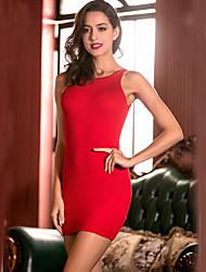 Femme lacet Moulante Gaine Robe Sortie Soirée Soirée Sexy,Couleur Pleine Licou Mini Sans Manches Rose Rouge Noir AutresToutes les