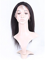 10-26 Inch 100% Human Virgin Hair Lace Wig Lace Front Natural Black Color Kinky Straight Lace  Wig-glueless with Baby Hair