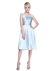 A-Line Straps Knee Length Charmeuse Bridesmaid Dress with Ruching Pleats by LAN TING BRIDE®
