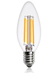 baratos -1pç 4W 360 lm E14 Lâmpadas de Filamento de LED C35 4 leds COB Decorativa Branco Quente Branco Frio 220-240V