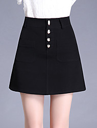 Plus Size A Line Solid Beaded Skirts,Casual/Daily Work Simple Cute High Rise Above Knee Button Polyester Micro-elastic Summer
