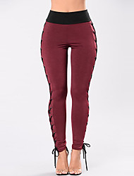 cheap -Women's Slim Chinos Pants - Color Block, Patchwork High Rise