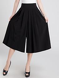 Mujer Vintage Bonito Tiro Alto Microelástico Perneras anchas Chinos Pantalones,Un Color Lino Verano