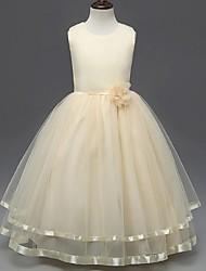Недорогие -бальное платье лодыжки длина цветок девушка платье - органза без рукавов жемчужина шеи с цветком на ydn