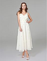 Corte en A Cuello en V Hasta el Gemelo Raso Vestido de novia con Cuentas Flor por LAN TING BRIDE®