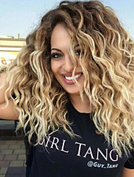 cheap -Synthetic Hair Wigs Curly Middle Part Dark Roots Ombre Hair Natural Wigs Medium Brown Blonde