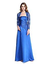 cheap -A-Line Strapless Floor Length Satin Mother of the Bride Dress with Appliques Pleats by LAN TING BRIDE®