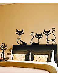 cheap -4 Black Fashion Wall Stickers Cat Stickers Living Room Decor Tv Wall Decor Child Bedroom Vinyl Home Decor