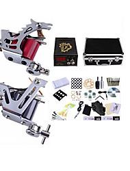 Kit tatuaggio Complete 2 x macchina in acciaio per linee e ombre 2 Tattoo Machines LCD alimentazione Inchiostri spediti separatamente