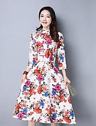 Women's Going out Holiday Vintage Chinoiserie Shift Dress,Embroidered Square Neck Above Knee ¾ Sleeve Cotton Blue Red Spring Fall Mid Rise