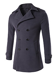 cheap -Men's Daily Plus Size Vintage Street chic Winter Fall Trench Coat,Solid Stand Long Sleeve Regular Wool Cotton