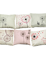 cheap -Set of 6 Hand painted dandelion pattern Linen Pillowcase Sofa Home Decor Cushion Cover