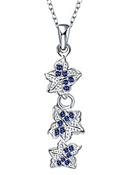 Women's Pendant Necklaces Chain Necklaces AAA Cubic Zirconia Zircon Copper Silver Plated FlowerBasic Unique Design Dangling Style