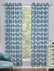 Grommet Top Two Panels Curtain Modern , Print Animal Living Room Linen/Polyester Blend Material Curtains Drapes Home Decoration