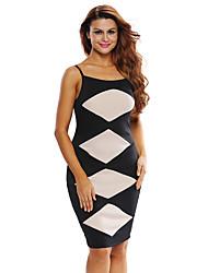 Dámské Sexy Klub Bodycon Šaty Barevné bloky,Poloviční délka rukávu Ramínka Maxi / Mini Černá Polyester / Spandex Léto High RiseLehce