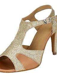 "Women's Salsa Sparkling Glitter Sandal Heel Performance Ruffles Buckle Sparkling Glitter Customized Heel Gold 1"" - 1 3/4"" 2"" - 2 3/4"" 3"""