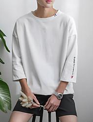 Tee-shirtLettre Décontracté / Quotidien simple Printemps Eté ½ Manches Col Arrondi Blanc Beige Noir Gris Coton Opaque Moyen